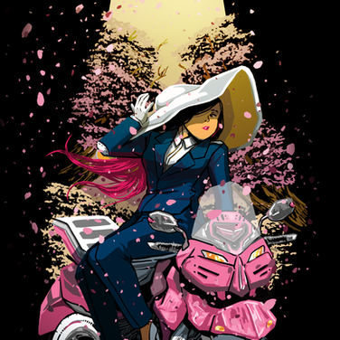 Motorcycle Cherry Blossems