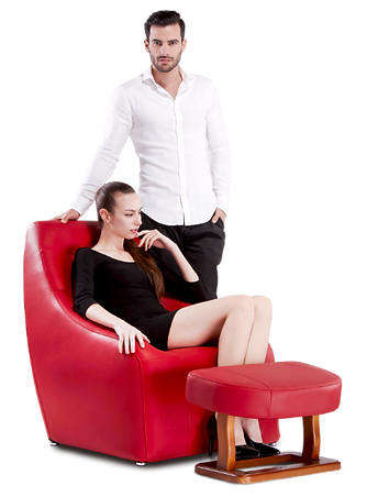 Two people by the red chair