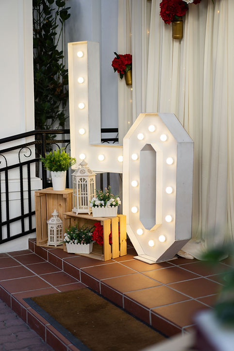LOVE signage and entrance decoration