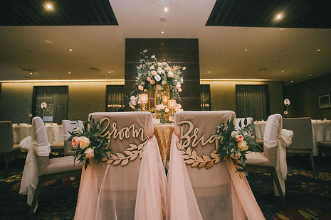 VIP table decoration bride and groom chair