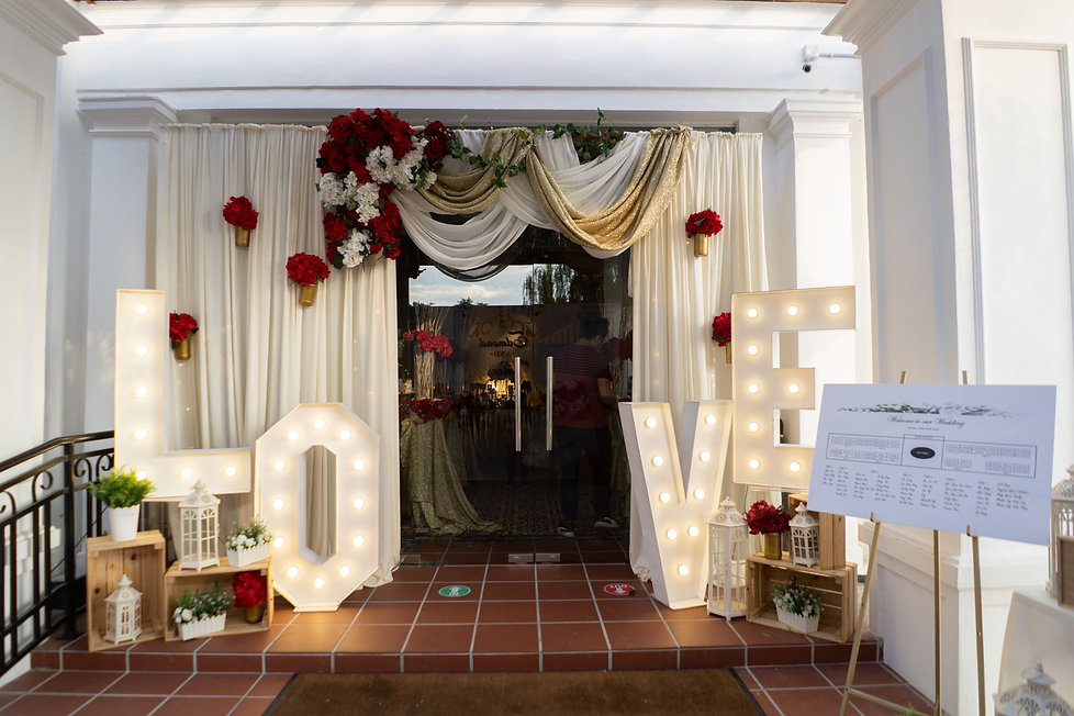 LOVE signage and entrance arch decoration