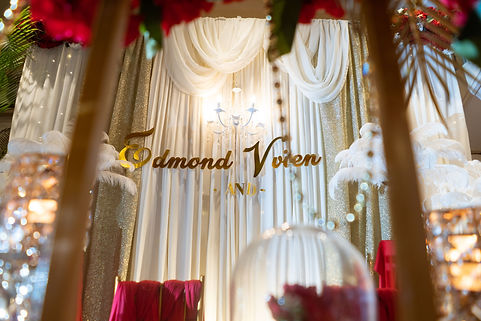 Stage backdrop decoration with couple names