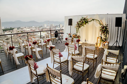 Floral chair decoration and stage backdrop