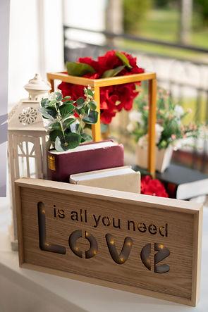 Registration table wood decoration