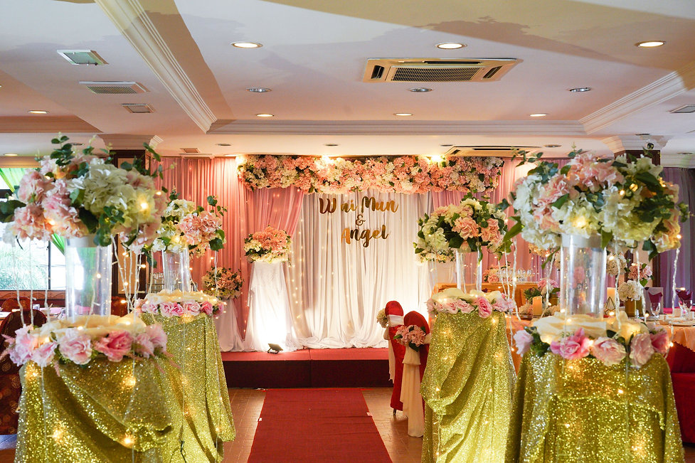 Stage backdrop and floral walkway