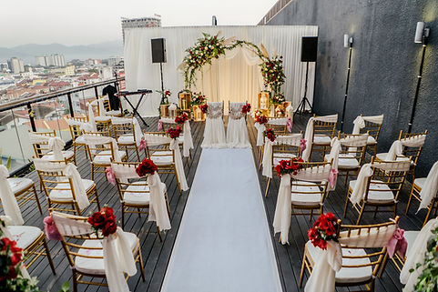 Stage backdrop and chair decoration