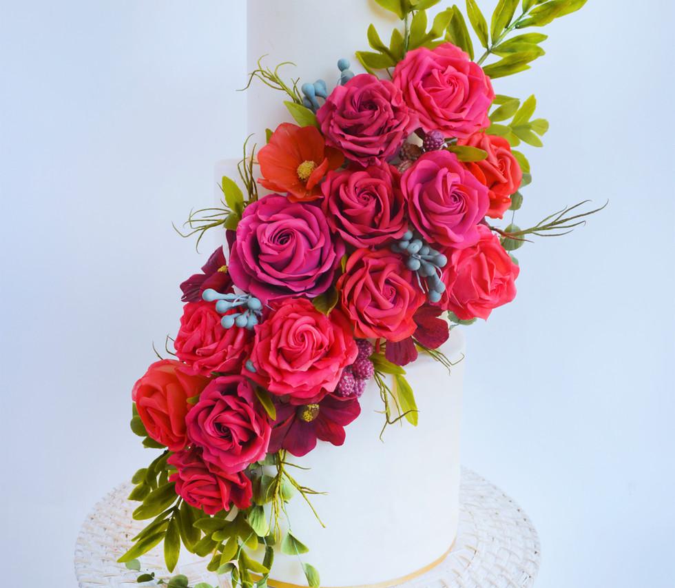 Beanpaste flowers arranged on a wedding cake