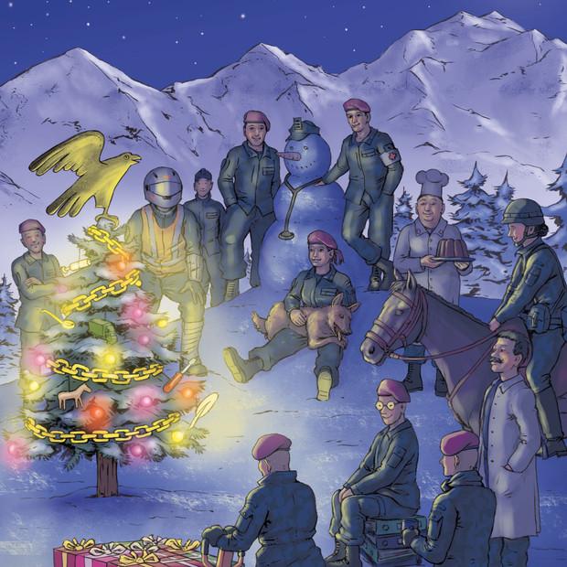 Christmas card, Swiss military logistics department, 2018