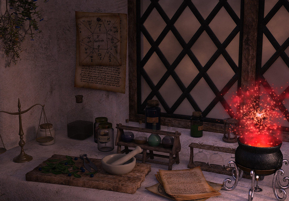 Workbench with books, pestle and mortar, and a cauldron illuminated with magical sparks