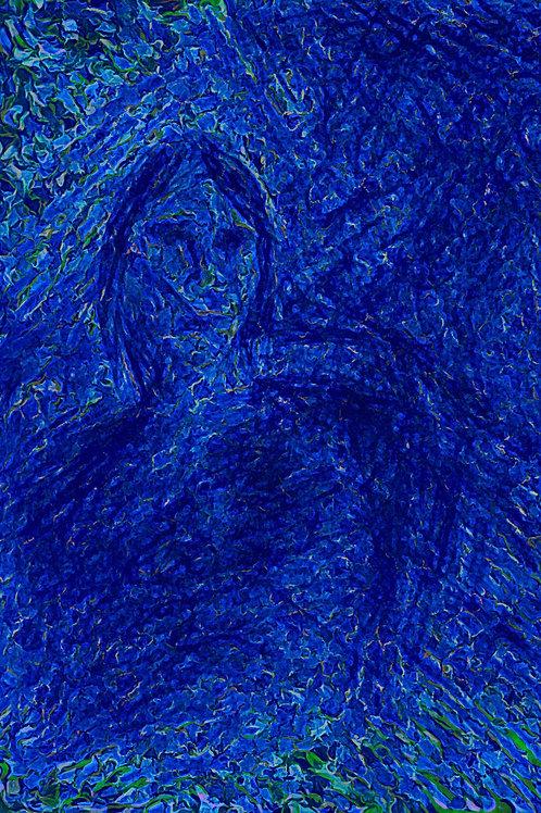 Behind a blue wall