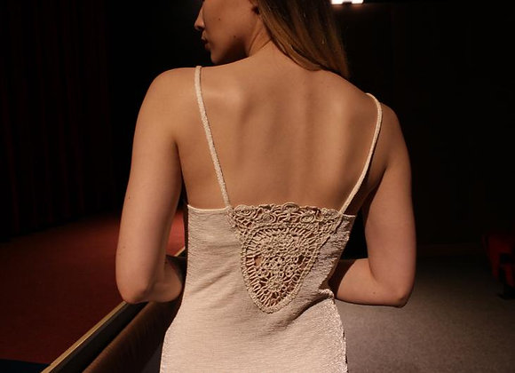 Soft knit long dress with crochet back