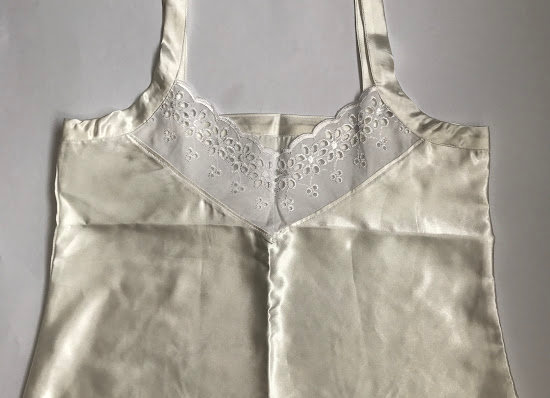 Upcycled cami with vintage madeira