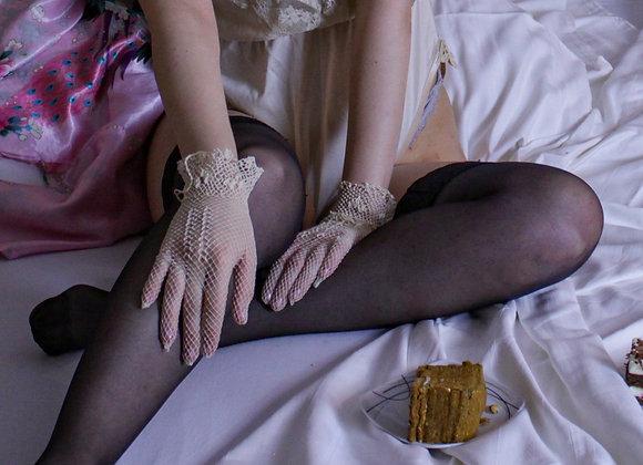 Vintage handcrochet lace gloves