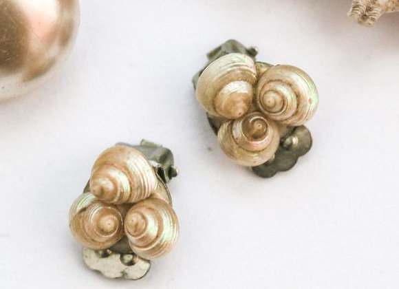CLIP EARRINGS, teeny-tiny, shell, mermaid, vintage, 80s