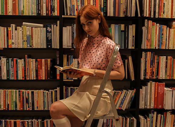 70s pink polka dot blouse