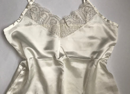 Upcycled cami with antique lace
