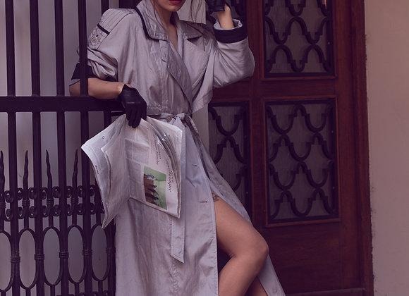 Waterproof silver vintage trench coat