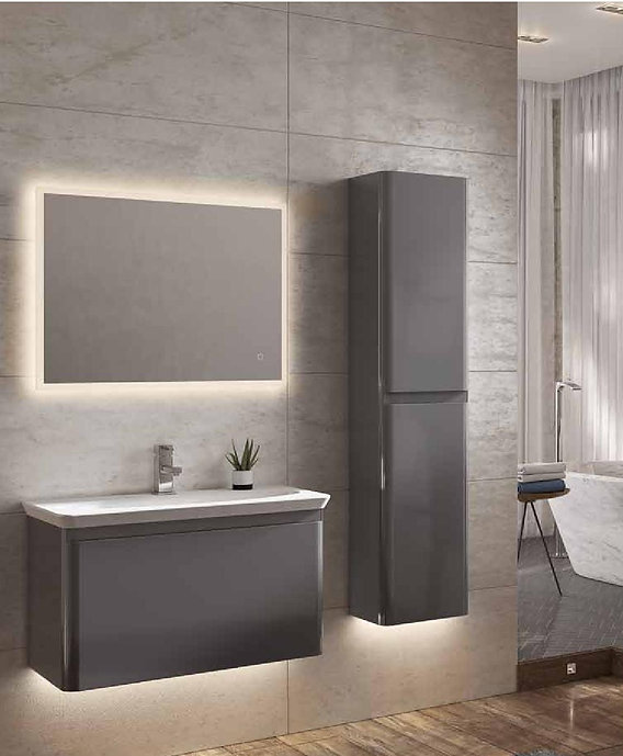 Novum reval basin unit with basin mixer illuminated Vega LED mirror and tall storage unit in anthracte finish.