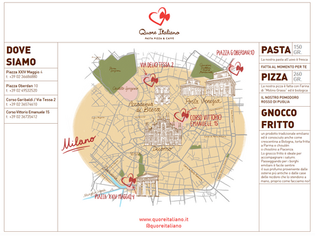 Table mat with illustrated Milan map