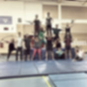 students training circus aerials, handstands, cyr wheel, juggling, partner acobatics and more in Victoria on Vancouver Island in British Columbia