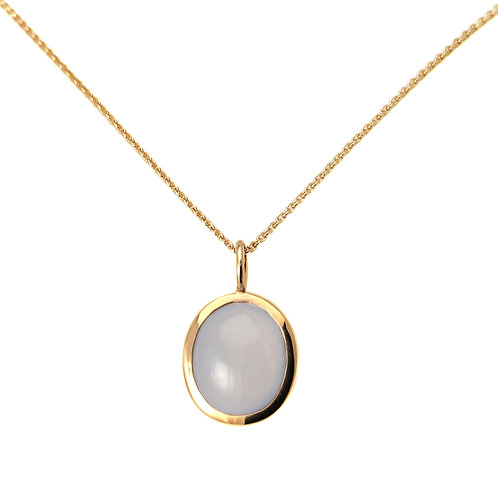 Necklace Galet Blue Chalcedony by Isabelle Langlois