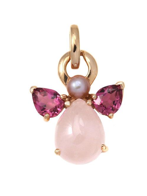 Pendentif Ange avec quartz rose par Isabelle Langlois