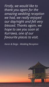 Kurrawa Functions Testimonial_Wedding Reception