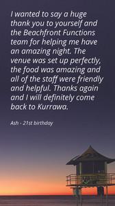 Kurrawa Functions Testimonial_21st Birthday