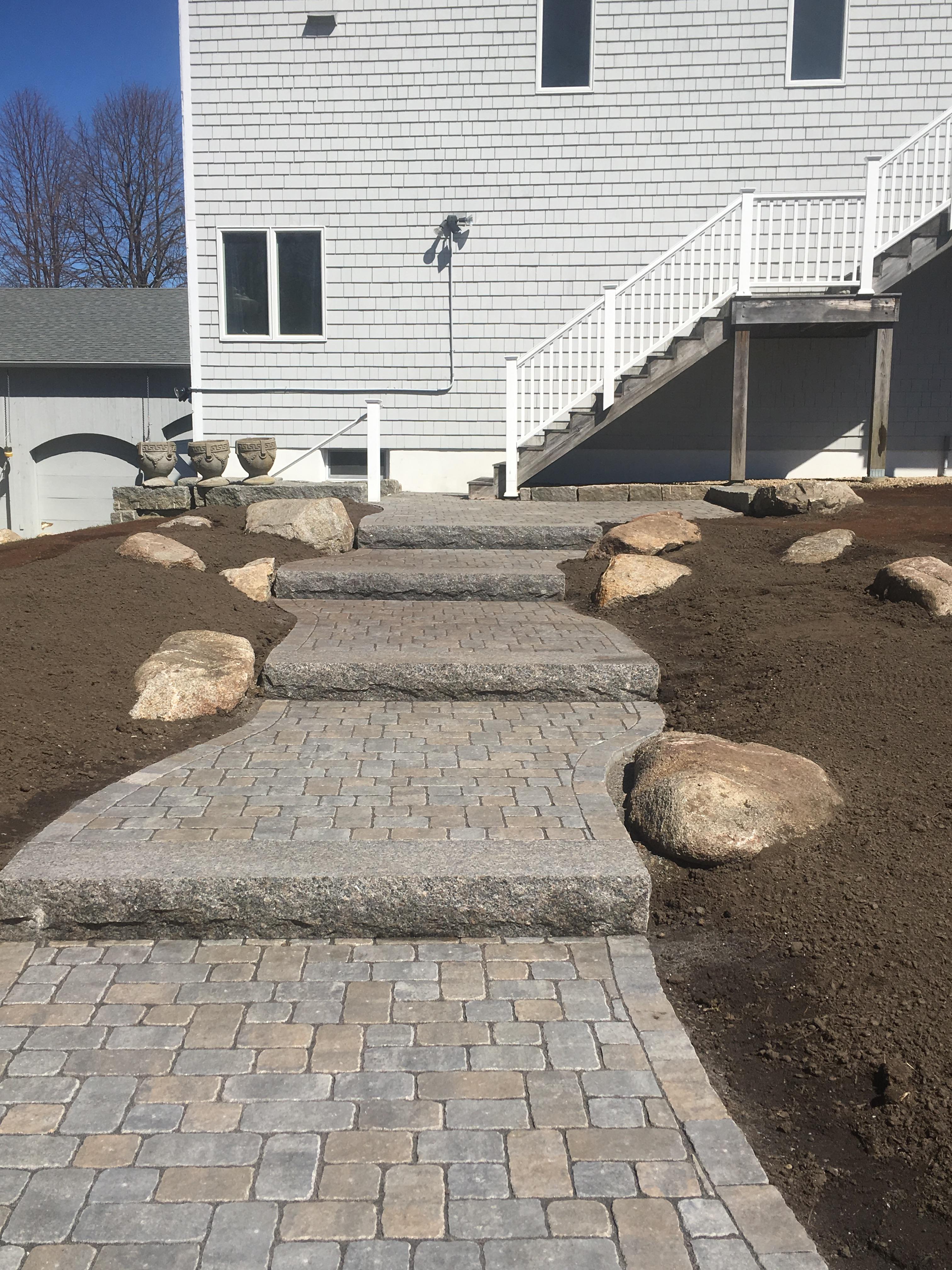 paver & granite stair case