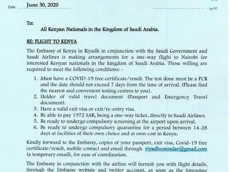 Attention All Kenyans In Saudi Arabia - Arrangement For A One-Way Flight To Kenya (Document)
