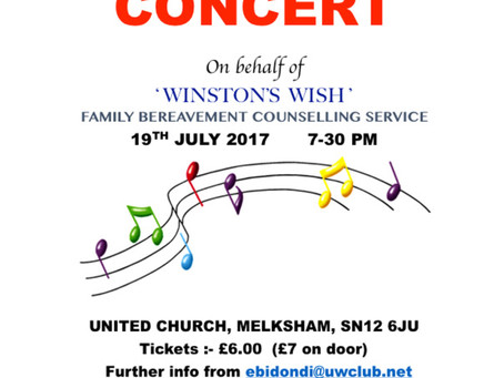 July 2017 – Summer Sharing Concert for 'Winston's Wish'