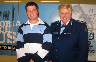 Image of - Cameron Skinner with Police Commisioner Christine Nixon