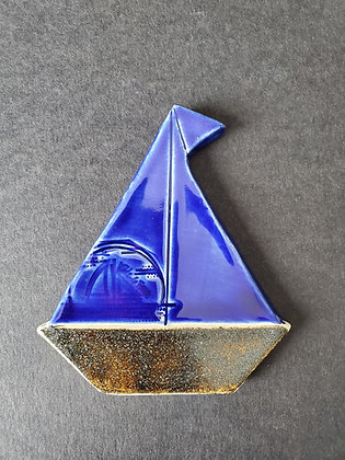 Cobalt Blue Cosmic Dust Sailboat Magnet