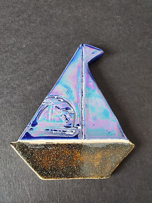 Cobalt Blue Mother of Pearl Cosmic Dust Sailboat Magnet