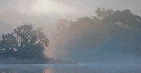 """Lake Mist - Oil on canvas 24"""" x 24"""""""