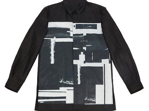 Рубашка из льна с авторским принтом