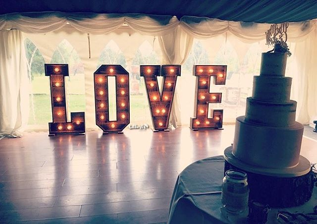 Our Rustic LOVE Letters all set up on th