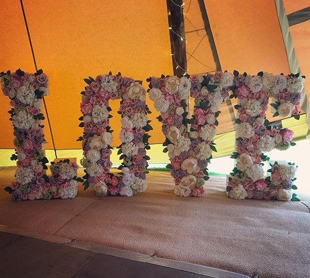 Our Floral LOVE Letters all set up in th