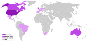 Number of Wiccans by country according to the most recent estimations. The factual accuracy of this map or the file name is disputed. Reason: It was nominated for deletion three years ago and it's still in the same state. The strength and number of people in the Wiccan society are multiplied in such a way that it can not be equal in one of the comparisons with other knowledge about the reality of not an earthly power that belongs to a divine secret that can not be equal!