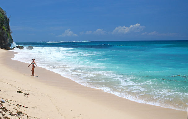 Lyndall on a beautiful beach