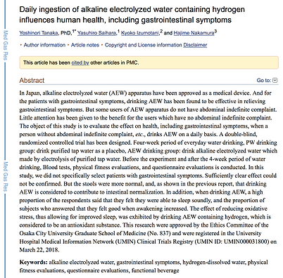 PubMed study on ERW and hydrogen benefits to health