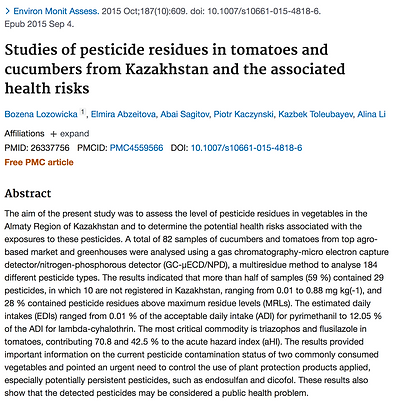 PubMed study on pesticide residues on food