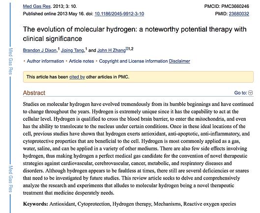 PubMed study on molecular hydrogen therapy