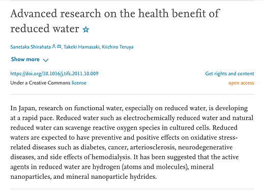 PubMed study on ERW (reduced water) benefits