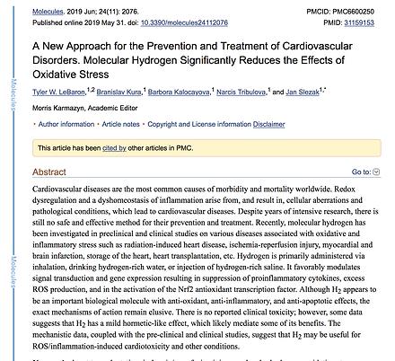 PubMed study on molecular hydrogen reduces oxidative stress