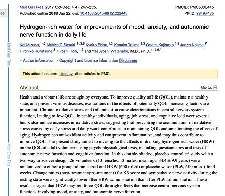 PubMed study on hydrogen rich water benefits