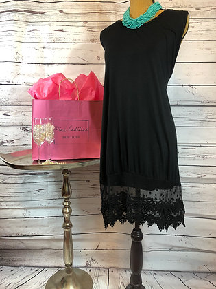 Black Dress with Lace Hem