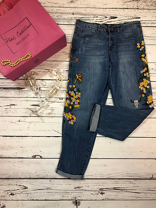 Embroidered Flower Child Denim