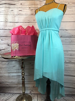 Light Blue Chiffon High Low Dress