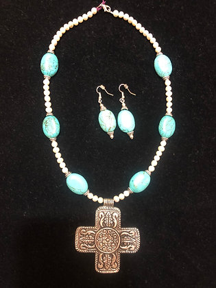 Turquoise & Pearl Cross Set